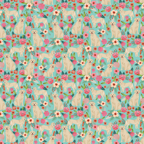 golden retriever dog fabric cute floral dogs design small print mini print fabric by petfriendly on Spoonflower - custom fabric