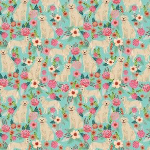 golden retriever dog fabric cute floral dogs design small print mini print