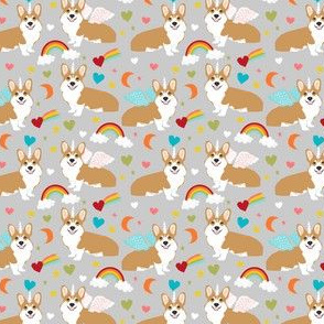 corgi unicorn fabric cute corgi illustration design - grey