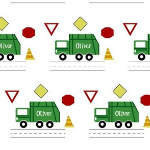 garbage truck 4 - green PERSONALIZED Oliver