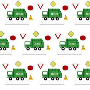 garbage truck 7 - green PERSONALIZED Oliver