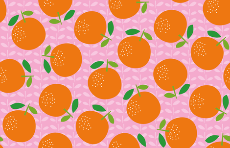 Giant Oranges (on pink) fabric by cerigwen on Spoonflower - custom fabric