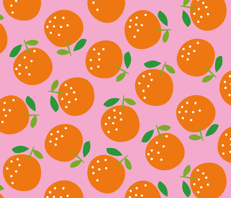 Oranges (on pink) fabric by cerigwen on Spoonflower - custom fabric