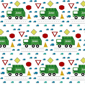 garbage truck 7 - traffic green and blue PERSONALIZED James