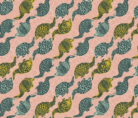 armadillos on a diagonal fabric by karismithdesigns on Spoonflower - custom fabric