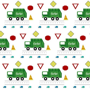 garbage truck 7 - green blue PERSONALIZED Carter