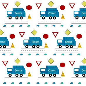 garbage truck 7 - blue  PERSONALIZED Connor
