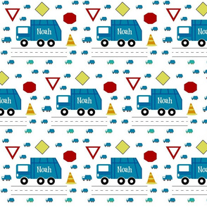 garbage truck 7 - traffic  blue PERSONALIZED Noah