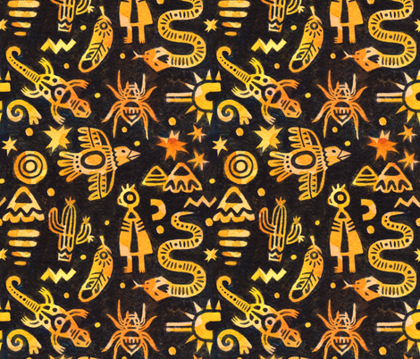 Spirit Desert Animals fabric by the_unfinished_sketchbook on Spoonflower - custom fabric
