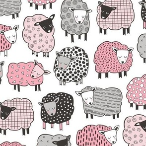 Sheep Geometric Patterned Black & White Grey  Pink on White