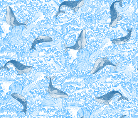 Woe the whales! fabric by cynthiahoekstra on Spoonflower - custom fabric