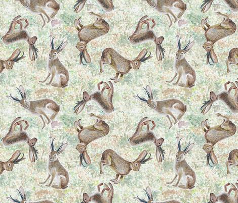 Jackalope in the Desert fabric by bloomingwyldeiris on Spoonflower - custom fabric