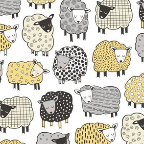 Sheep Geometric Patterned Black & White Grey  Yellow on White
