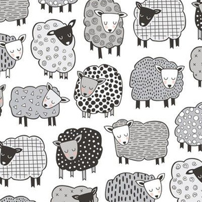 Sheep Geometric Patterned Black & White Grey  on White