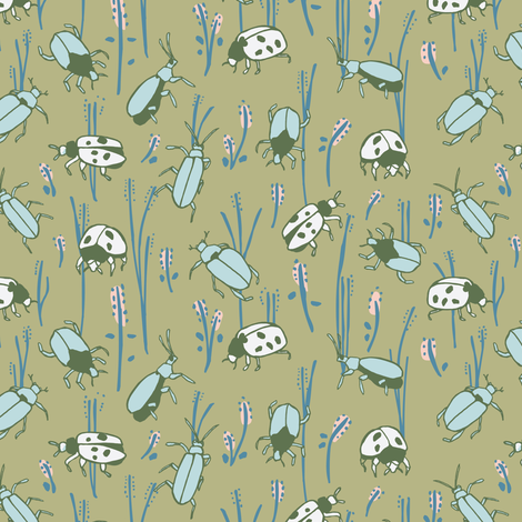 Bugs in green fabric by lburleighdesigns on Spoonflower - custom fabric