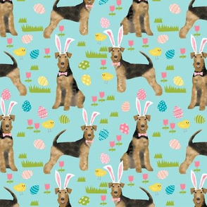 airedale terrier dog fabric cute dogs spring easter fabric - easter egg cute dogs design