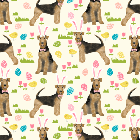 airedale terrier dog fabric cute dogs spring easter fabric - easter egg cute dogs design fabric by petfriendly on Spoonflower - custom fabric