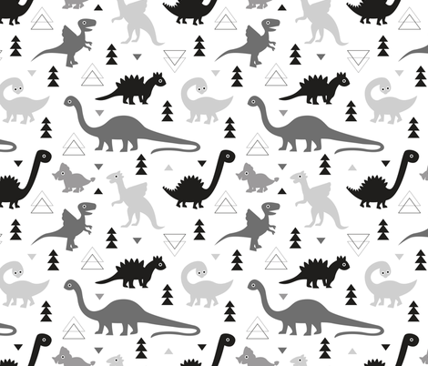 Adorable dino boys fabric with black and gray dinosaur geometric triangles and funky animal illustration theme for kids fabric by littlesmilemakers on Spoonflower - custom fabric