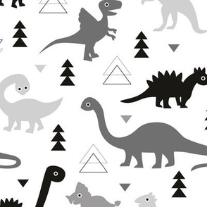 Adorable dino boys fabric with black and gray dinosaur geometric triangles and funky animal illustration theme for kids