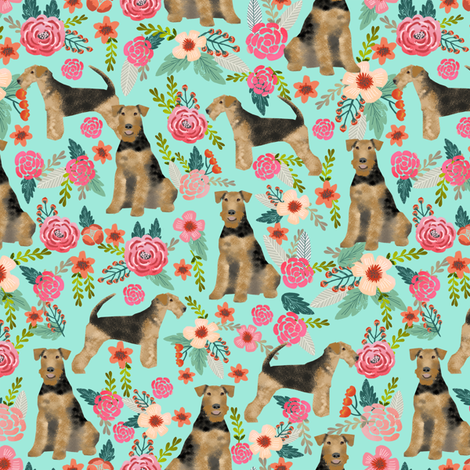 airedale terrier dog fabric cute dogs spring florals fabric - floral spring design fabric by petfriendly on Spoonflower - custom fabric