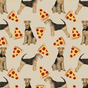airedale terrier dog fabric cute dogs food funny pizza fabric - sand