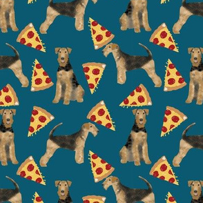 airedale terrier dog fabric cute dogs food funny pizza fabric - sapphire blue