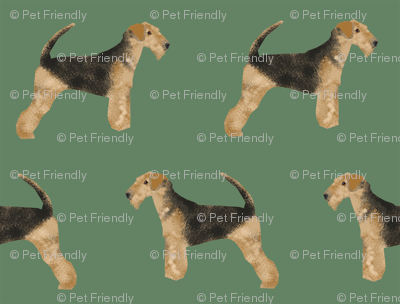 airedale terrier dog fabric cute dogs neutral sewing dog fabric - medium green
