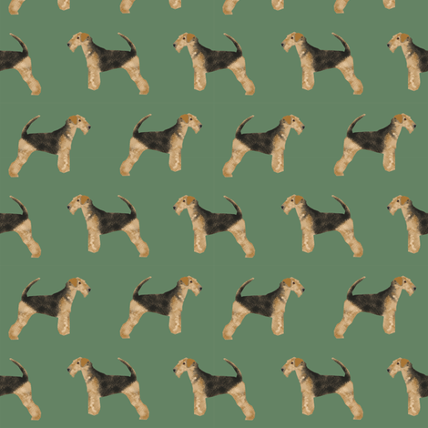 airedale terrier dog fabric cute dogs neutral sewing dog fabric - medium green fabric by petfriendly on Spoonflower - custom fabric