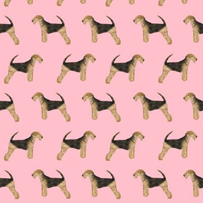 airedale terrier dog fabric cute dogs neutral sewing dog fabric - blossom pink