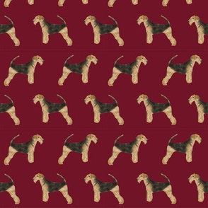 airedale terrier dog fabric cute dogs neutral sewing dog fabric - ruby