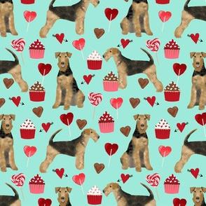 airedale terrier valentines love fabric  dog fabric design valentines aqua