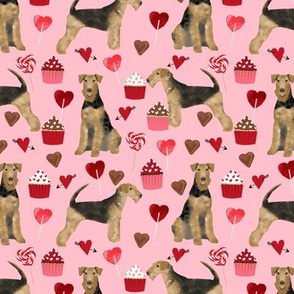 airedale terrier valentines love fabric  dog fabric design valentines pink