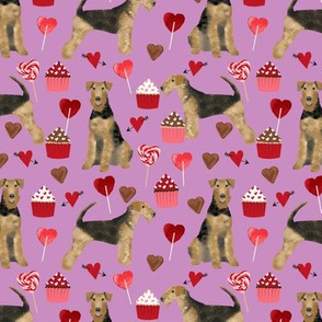 airedale terrier valentines love fabric  dog fabric design valentines purple
