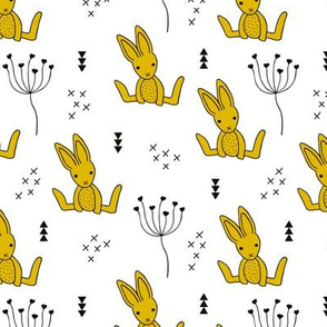 Adorable little baby bunny geometric scandinavian style rabbit for kids gender neutral black and white ochre yellow