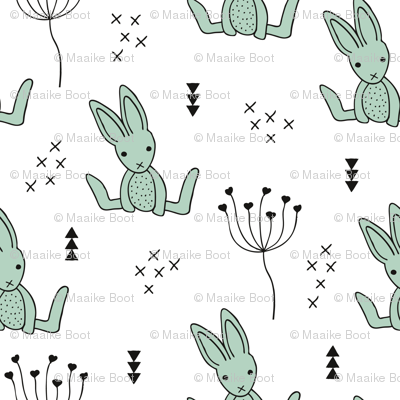 Adorable little baby bunny geometric scandinavian style rabbit for kids gender neutral black and white mint