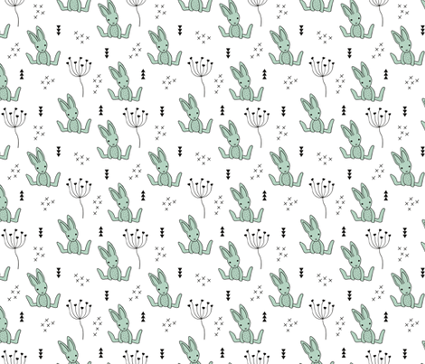 Adorable little baby bunny geometric scandinavian style rabbit for kids gender neutral black and white mint fabric by littlesmilemakers on Spoonflower - custom fabric