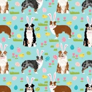 australian shepherd aussie dog easter fabric cute spring pastel dogs design - blue