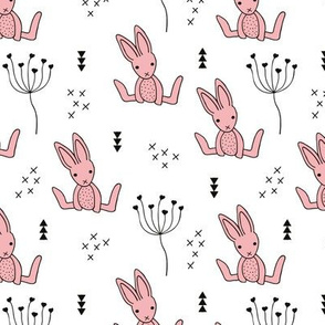 Adorable little baby bunny geometric scandinavian style rabbit for kids gender neutral black and white pink