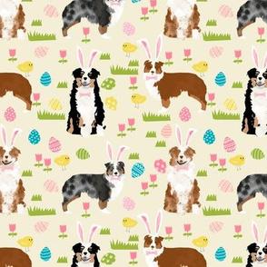 australian shepherd aussie dog easter fabric cute spring pastel dogs design - cream