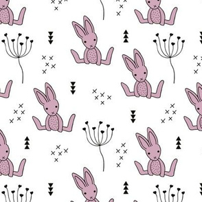 Adorable little baby bunny geometric scandinavian style rabbit for kids gender neutral black and white lilac