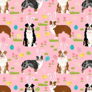 australian shepherd aussie dog easter fabric cute spring pastel dogs design - pink