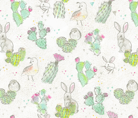 Life in the Desert - © Lucinda Wei fabric by lucindawei on Spoonflower - custom fabric