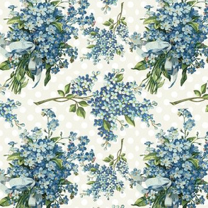 Blue floral on ivory polka dots