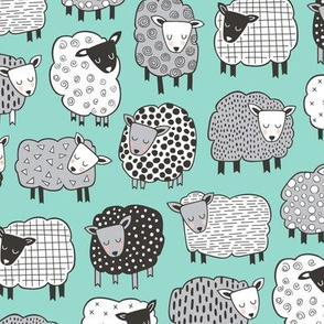 Sheep Geometric Patterned Black & White Grey on Mint Green