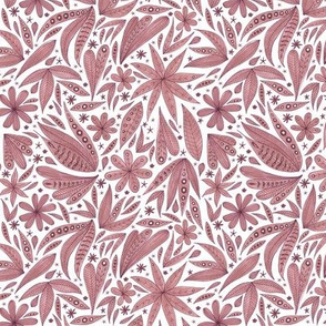 dusty pink botanical pattern