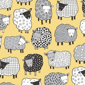 Sheep Geometric Patterned Black & White Grey on Yellow