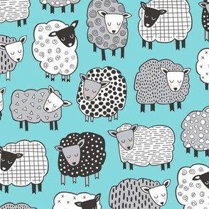 Sheep Geometric Patterned Black & White Grey on Blue