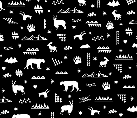 montains_animals_stars_and_hearts fabric by isabella_asratyan on Spoonflower - custom fabric
