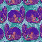 Rabbit in Purple and Teal