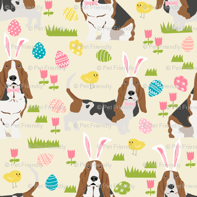 basset hound easter fabric cute spring pastel dogs design - cream